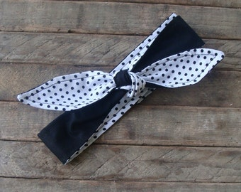 Reversible Headband Black and White Polka Dots Skinny Headscarf Girls Teen Women Hair Accessory Hairband with or without elastic