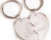 Best Bitches - Friendship Key Ring Key Chain Set - Silver Split Heart