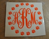 Tiger Paw Vinyl Decal with Monogram, Tiger Paw Monogram, Car Window Decal, Cat Paw Monogram, Tiger Paw Decal, Tiger Paw Monogram Decal