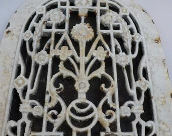 Vintage Cast Iron Door Window
