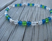 Ankle Bracelet- Blue, Green, Clear, and Silver Beaded Ankle Bracelet