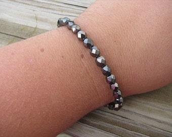 Layering Bracelet- Metallic Pewter Beaded Bracelet