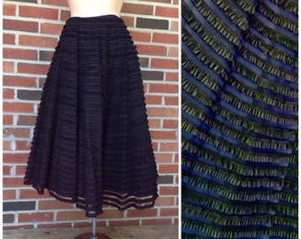 Vintage 50s Black Mesh Ruffle Lace Tiered Full Skirt