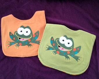Embroidered Spotted Frog Bibs Set of 2