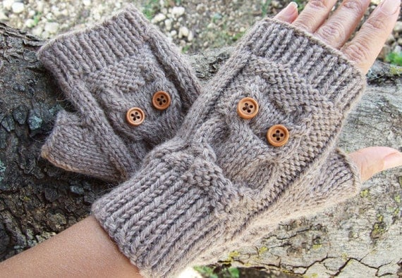 Owl Knit Fingerless Mittens PDF Pattern Owl by ...