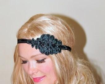 1920's Great Gatsby Beaded Headband Black Women headband Headwrap Stretch Vintage Headband Boho Headband Gift under 25