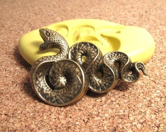 Snake / Serpent (large) - Flexible Silicone Mold - Push Mold, Jewelry Mold, Polymer Clay Mold, Resin Mold, Craft Mold, PMC Mold