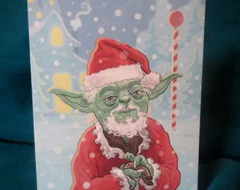 Star Wars Yoda Claus Christmas Card