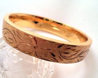 Wide Gold Filled Hinged Bangle Bracelet Brushed Gold Flowers Details by CARLA