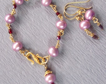 Pink Lavender Pearl and Red Garnet Bracelet and Earrings set ~  Wedding Collection