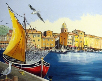 SAINT TROPEZ the Port, Seagulls Sailboat, French Riviera South France Village Blue, Original Painting, Wall Art 18x24. Free Shipping in USA.