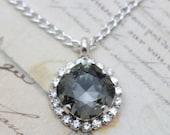 """Crystal Necklace Gray Necklace Bridesmaids Necklace Swarovski Crystal Necklace Black Diamond Silver Necklace Gray Wedding 16 - 18"""""""