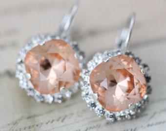 Peach Earrings Bridesmaids Light Peach Swarovski Crystal Earrings Bridal Earrings Bridesmaids Earrings Silver Wedding