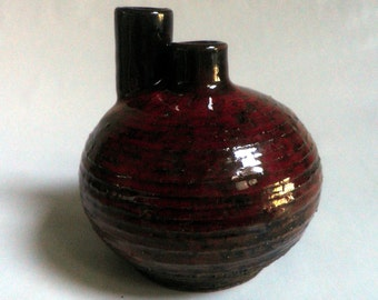 handmade Stoneware Vase, RED glaze over dark clay