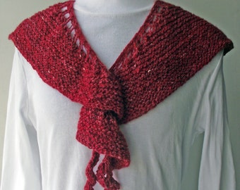 50% OFF! Red Shawl, Red Shawlette,  Red Scarf, Handspun Knitted Scarf, Red Merino and Silk Scarf, Red Neckwarmer