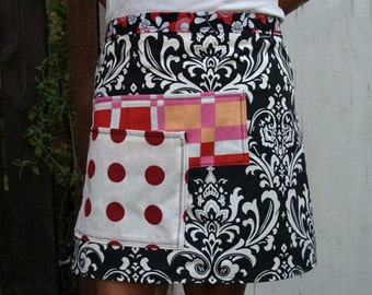 Plus Size half apron, black and white, red polka dots and paisley, cotton fabric