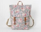 Waterproof cadet blue blossom laminate backpack, diaper bag, laptop backpack, school bag, work bag, 2 front pockets, Design by BagyBags