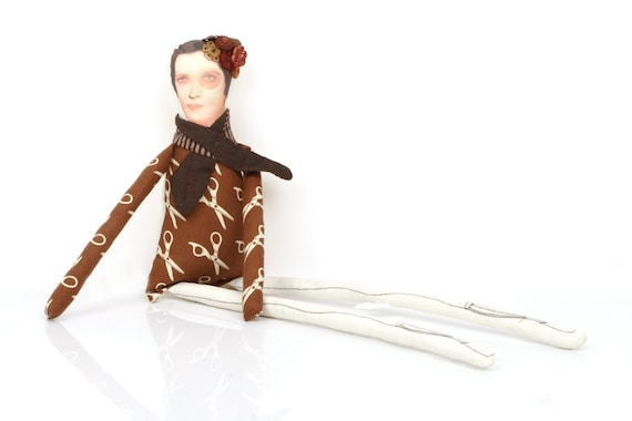 Quirky Ooak bohemian Beaded doll - Unique lady wearing  scarf  Brown dress with scissors with Beads and Buttons & socks -handmade  doll