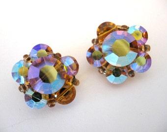 Vintage Ab Topaz Crystal Bead Cluster Earrings
