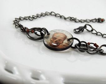 Skull bracelet,sepia resin bracelet,gun metal bracelet, adjustable size bracelet, gifts under 25