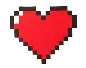 Heart Decoration pixel 8 bit Painting Valentines Day Art Geek canvas