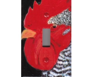 Rooster Light switch cover plate Country Kitchen painting folk Art