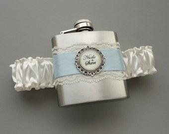 Wedding Garter - FLASK GARTER - Something Blue for Bride - Ivory & Light Blue (Other Colors Too) - Personalized Bridal Garter with Flask