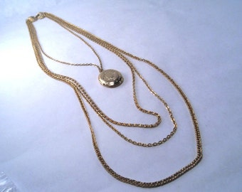 Necklace Gold Filled Double Locket and 4 Strand Chain Vintage 60s