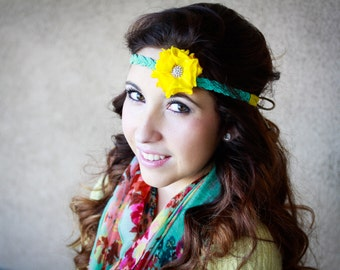 Hippie Halo Style Flower Headband Yellow Tie back
