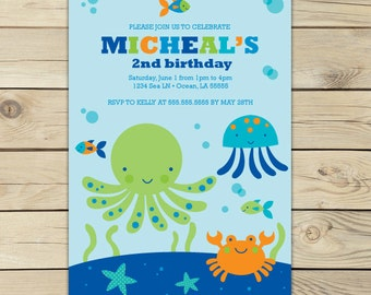 Under the Sea Invitation - Under the Sea Birthday Party Invites - Boy Birthday Party - Pool Party Invitation - Under the Sea Party - Ocean