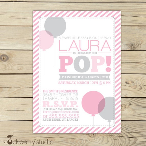 Shes ready to pop baby shower invitation gray pink baby shower il570xn filmwisefo