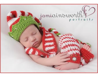 Christmas Jester Striped Hat with Scarf and/or Leggings, Holiday Sets for Baby, Newborn Photo Props, Jester Hat with Green Brim, Scarf