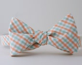 Mint and Peach Checked Bow Tie