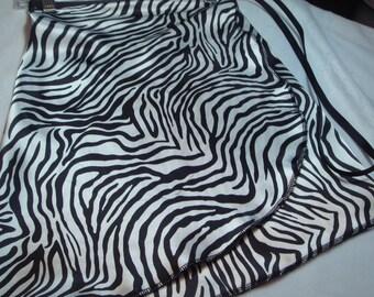 "14"" Silky Zebra Print Adult Ballet Wrap Skirt"