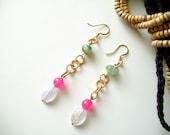 Colorblock Simple Dangle Earrings Jade Agate and Quartz Pink Green