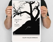 "Literary Art Prints, ""Ralph Waldo Emerson"" Quote Minimalist Poster, Large Wall Art Print, Illustration, Typography Literary Gifts, Men Gift"