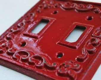 Double Light Switch Cover-Plate- Cast Iron-Fleur De Lis-Decorative-In Country Red-Electrical Outlet Plate-Bright Metal-Wall Decor
