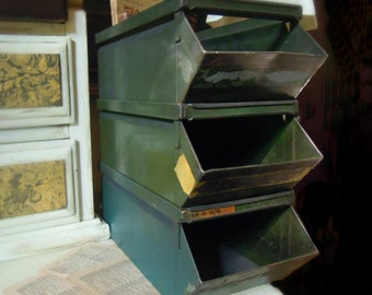 Three Vintage Stackable Metal Bins / Urban Industrial / Metal Storage / Studio Storage