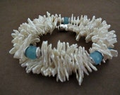 Keishi Pearl Necklace Aquamarine Gemstone Necklace Freshwater Pearls Beach Inspired Summer Necklace