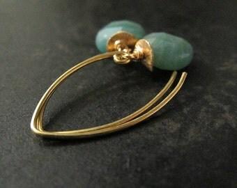 Amazonite Gemstone Earrings | Aqua Blue Earrings | Gold Marquise Earrings | Amazonite Earrings