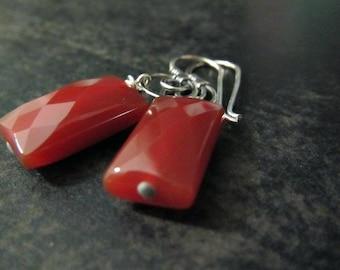 Carnelian Earrings | Rectangle Earrings | Carnelian Gemstone Earrings | Sterling Silver Earrings