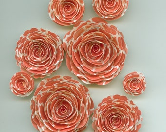 Quaterfoil Pattern Pink Coral Rose Spiral Paper Flowers for Weddings, Bouquets, Events and Crafts