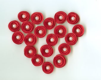 Mini Pearl Red Rose Spiral Paper Flowers for Weddings, Bouquets, Events and Crafts