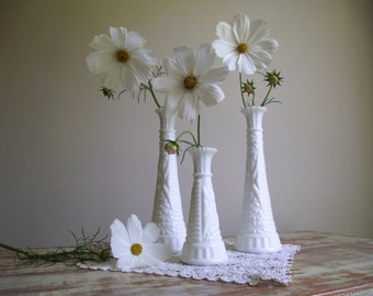 Vintage Milk Glass Vases | Set of 3 White Bud Vases | White Wedding Decor | Vintage Holiday Decor