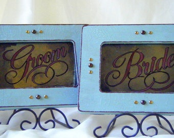 Vintage Style Wedding Antiqued Mirror Signage Brown Teal Bride Groom Just Married Decoration Shabby Chic Victorian