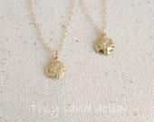 Gold Sand Dollar Necklace, 18k Gold Vermeil Sand Dollar, 14k gold filled Chain, Tiny Sand dollar Jewelry, Beach necklace, Matt or Shiny