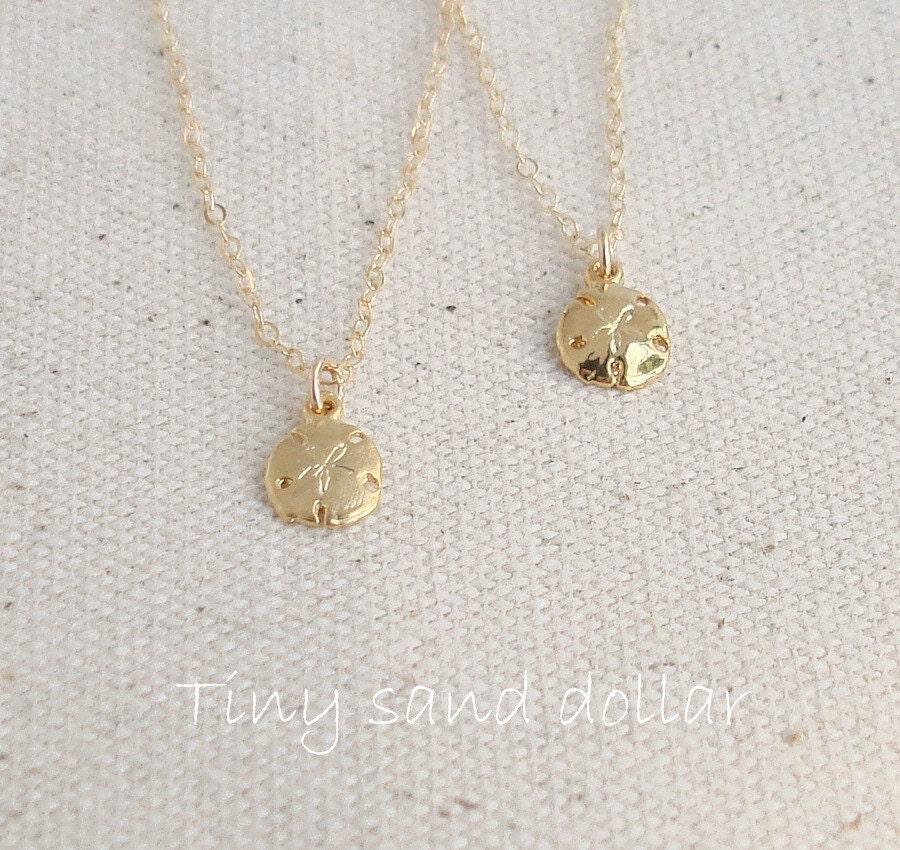 Gold Sand Dollar Necklace 18k Gold Vermeil Sand Dollar 14k