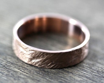 Crash Ring - Men's Wedding Band 6mm Wide Rough 14k Recycled Rose Gold Eco Wedding Ring - Custom Made to Order in Your Size
