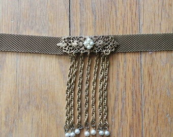 Vintage 50's/60's Gold Mesh Chain and Pearl Fringe Choker