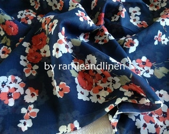 """silk fabric,  floral print on deep navy blue silk cotton blend fabric, one yard by 43"""" wide"""